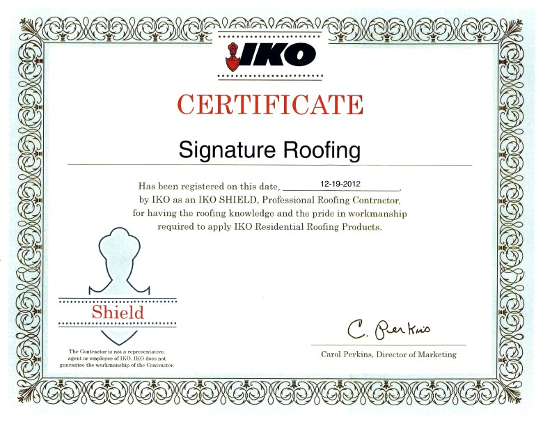 IKO Signature Roofing Certificate