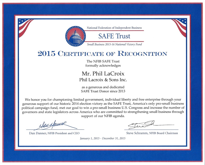 SAFE Trust Certificate of Recognition